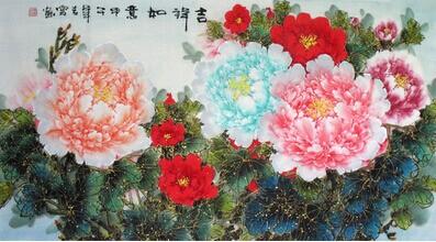 手绘金线潘红花